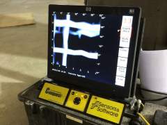 LCD monitor displays GPR software.